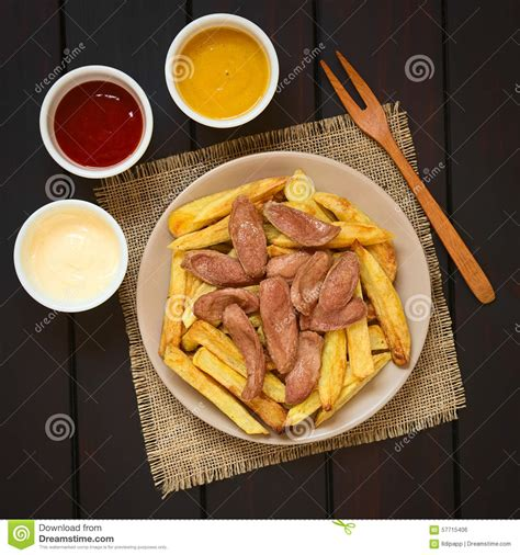 served american south tradition new salchipapas south american fast food stock photo image