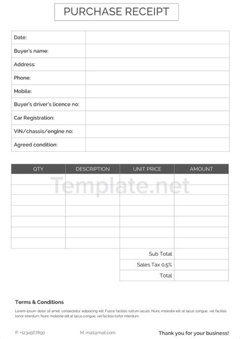 Purchase Receipt Template by 21 Receipt Templates Free Premium Templates
