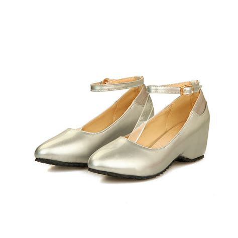 plus size sliver wedges shoes high heels wedge
