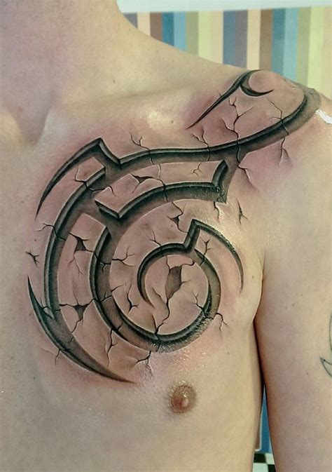 tattoos 3d for men 3d tribal chest best ideas designs