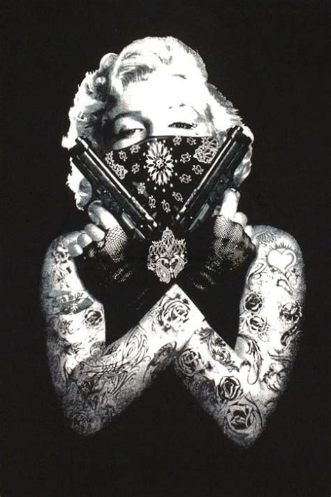 marilyn monroe tattoo art bandanna guns pose black t