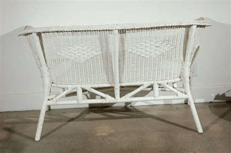 white wicker settee french white wicker settee 2 sofas available garden
