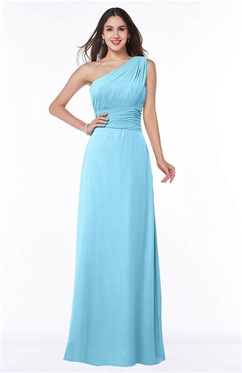 light blue floor length dress light blue bridesmaid dress elegant a line asymmetric