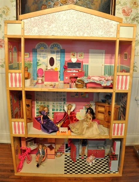 wooden 3 story size doll house with furniture ebay