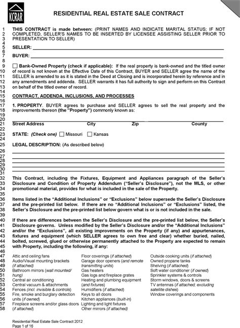 download kansas residential real estate sale contract form