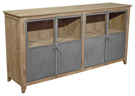 Chaucer Industrial Loft Limed Wood And Metal Sideboard Metal Sideboard Buffet
