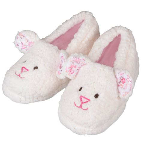 house shoes for girls girls soft fleece lamb design slippers with rubber soles cream