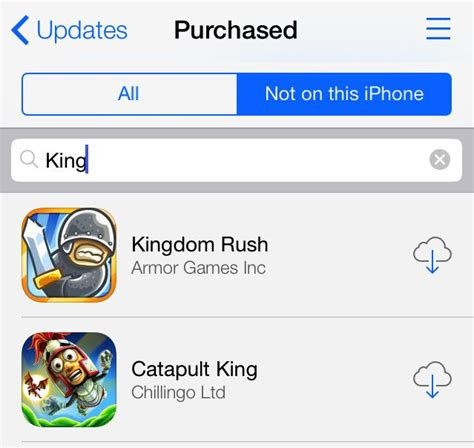 search  purchased apps   ios  app store