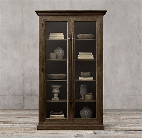 English Brass Bar Pull Glass Double Door Cabinet