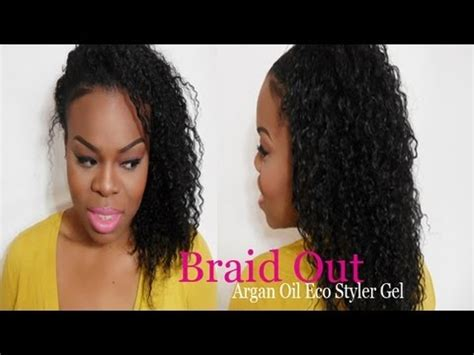 eco gel and teo strand hairstyles braid out on natural hair tutorial using argan oil eco