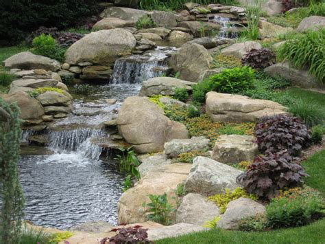 waterfall and garden pond traditional landscape bridgeport by waterfalls fountains gardens