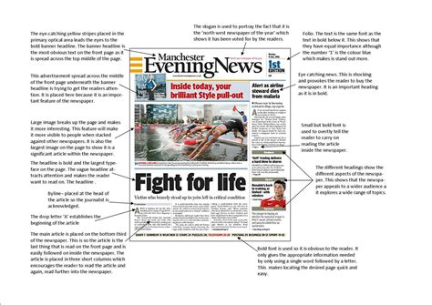 newspaper layout analysis a2 advanced portfolio newspaper front page analysis