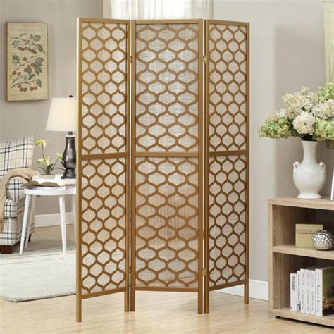 Gold Room Divider Monarch Three Panel Folding Room Dividers