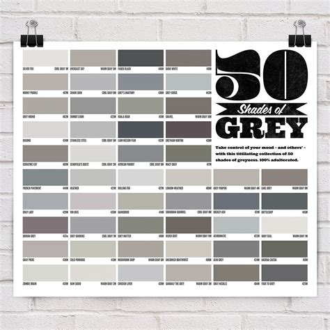 shades of grey color names 50 shades of grey poster 50 shades gray and pantone chart
