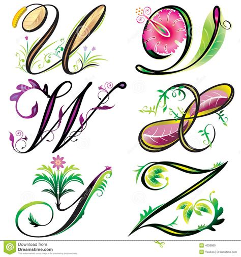 design elements in writing alphabets elements design series u to z stock vector