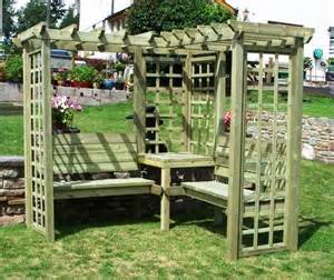 Build Your Own Trellis Avon Corner Timber Pergola With Benches And Trellis 163 549 99