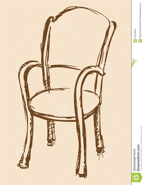 Armchair With Leg Rest Vector Drawing Wooden Chair With Armrests Stock Vector