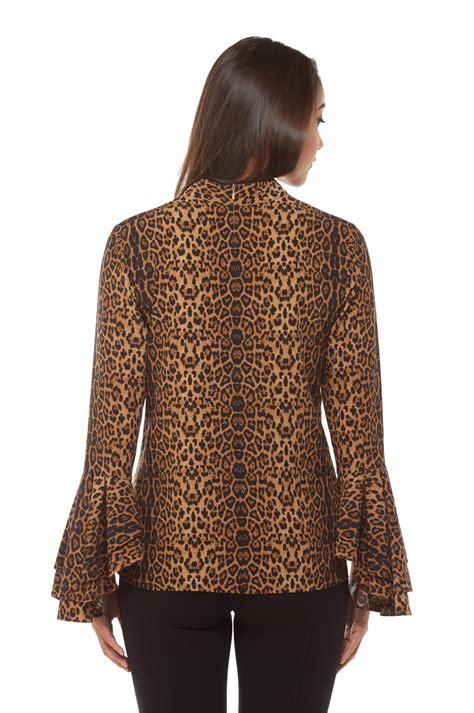 Leopard Print Sleeve Blouse leopard print flutter sleeve blouse s clothing