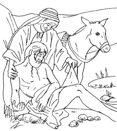 helping the injured man the good samaritan coloring