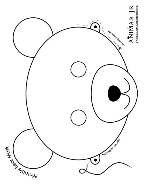 printable animal masks to color printable animal masks bear mask bear mask to print and