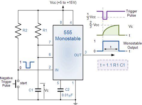 555 timer resistor calculator monostable electronic circuits the monostable 555 timer
