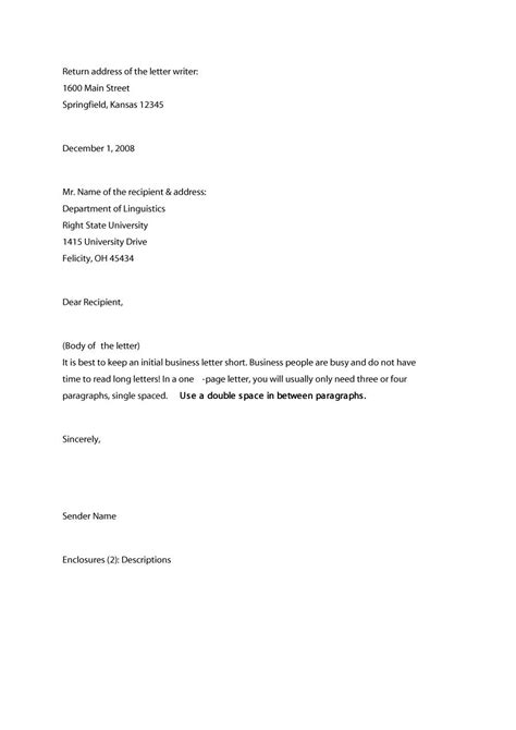 Business Letter Template Us business letter sle letters free sle letters