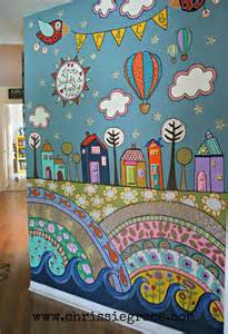 Painted Wall Murals For Kids More Fence Mural Ideas Back Yard Pinterest Happy