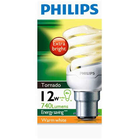 philips cfl tornado warm white 12w bc base each woolworths