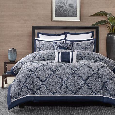 beautiful modern elegant blue navy silver grey white scroll comforter pillow set ebay