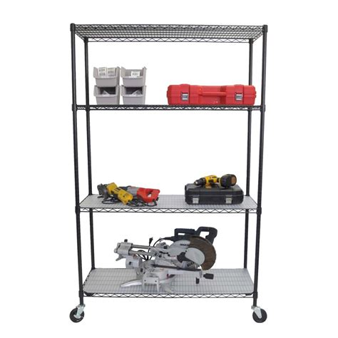 Shelving Rack With Wheels by Tbfpb 0907 4 Tier Wire Shelving Rack With Wheels And Liners Atg Stores
