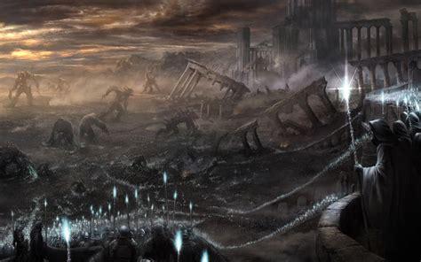 souls fantasy dark apocalyptic post battle decay