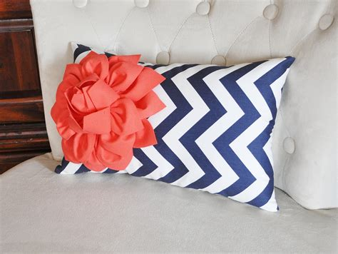 Coral And Navy Pillows coral flower on navy chevron lumbar pillow decorative throw