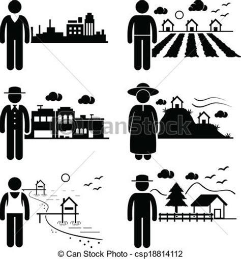 Seaside Cottage Plans Vector Clip Art Of People Living In Different Places A