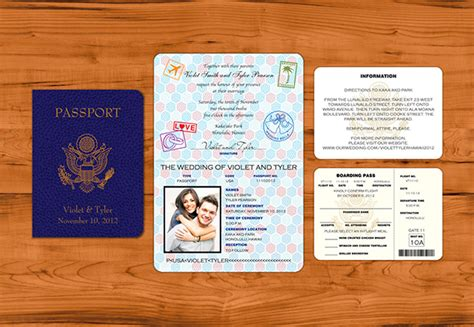 realistic passport wedding invitation suite on behance
