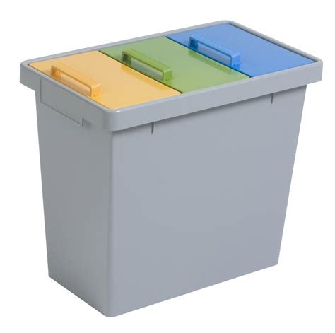 durable 3 compartment recycling bin with colour co