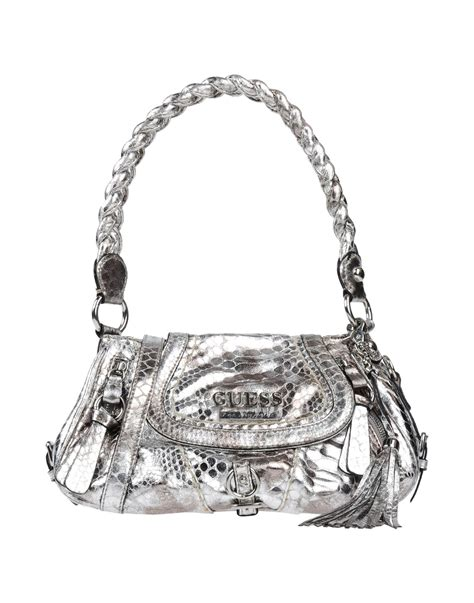 Guess Silver guess handbag in silver lyst