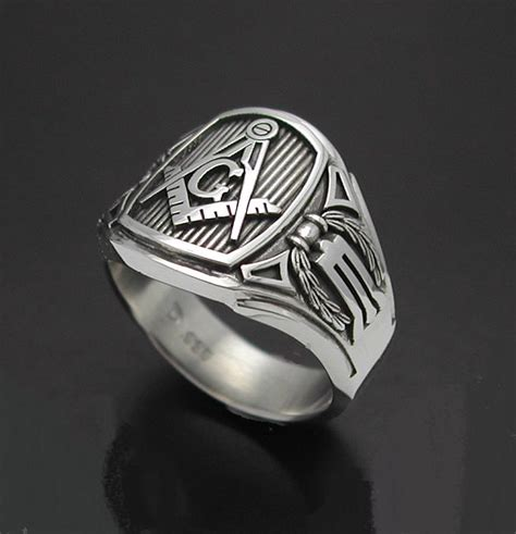 masonic ring for in sterling silver cigar band style