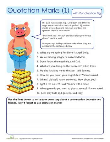 Quotation Marks Worksheets by Quotation Worksheets For Writers Education
