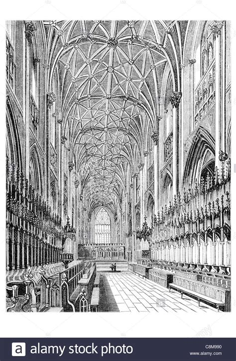 cathedral roofdrawing side arches and vaulted roof of the choir york minster stock photo royalty free image