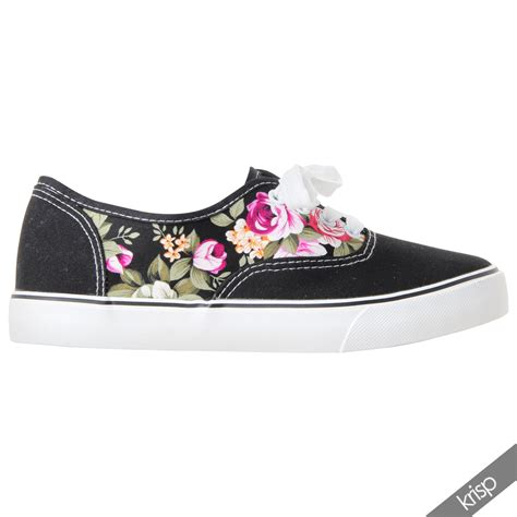 womens glitter floral print plimsolls trainers sneakers