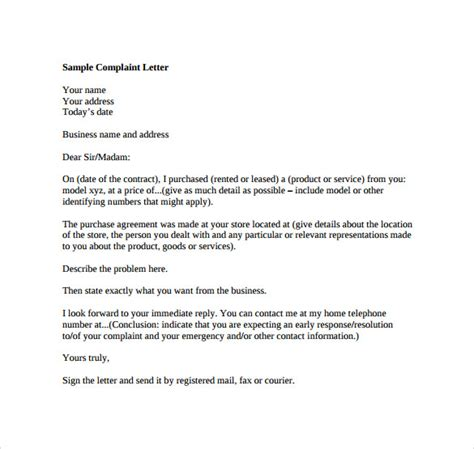 Complaint Letter About Bad Service With Exle Complaint Letter Formats Find Word Templates