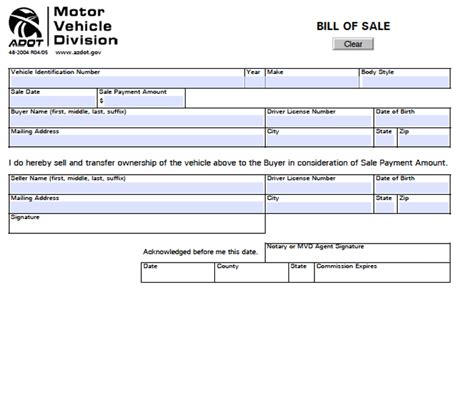 download arizona motor vehicle bill of sale form for free