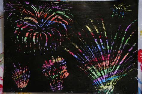 How To Make Scratch Paper With Acrylic Paint - create with your scratch firework pictures