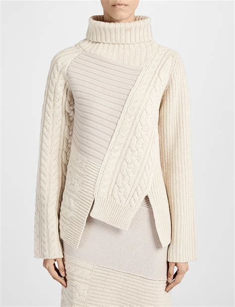 Patchwork Sweater - joseph patchwork knit high neck sweater in lyst