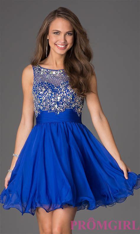 Dress Blue sleeveless beaded scoop neck dress promgirl