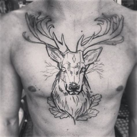 outline tattoos for men 40 deer tattoos on chest