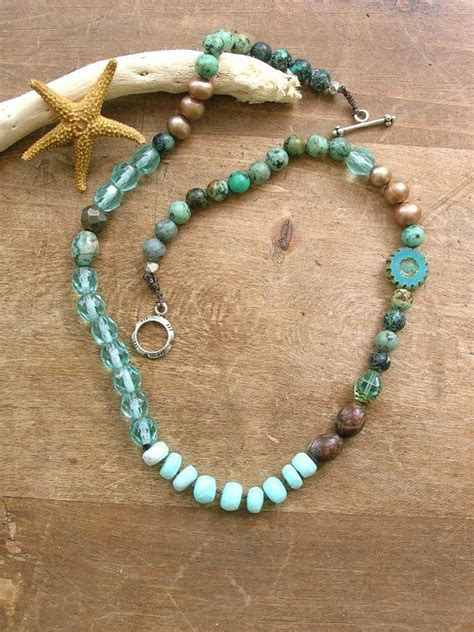 bohemian necklace waterfall boho chic jewelry blue