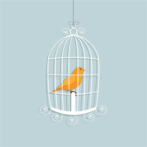 canarino in gabbia canarino messo in gabbia illustrazione vettoriale