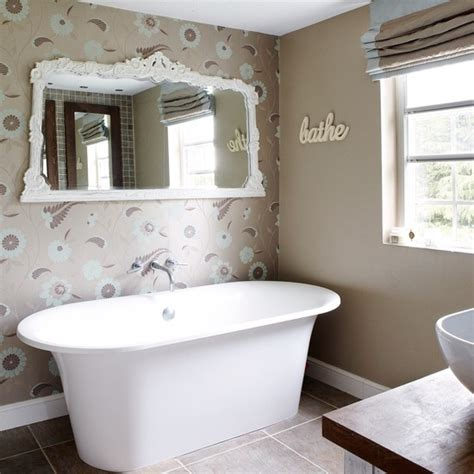 wallpapered bathrooms ideas neutral wallpapered bathroom traditional bathroom design