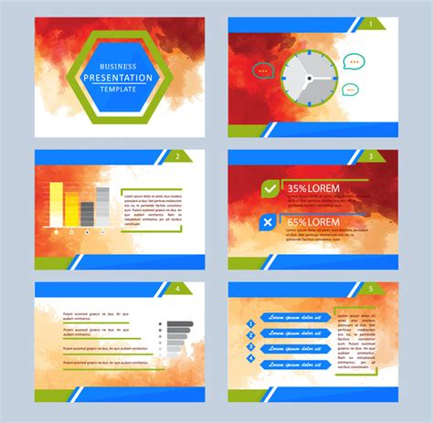 Business Presentation Template Illustrations With Colorful Abstract Background Free Vector In Adobe Illustrator Presentation Templates